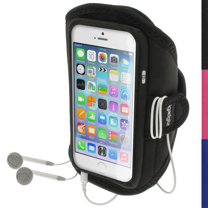 "iGadgitz Water Resistant Black Sports Jogging Gym Armband for Apple iPhone 6 4.7"" 2014"