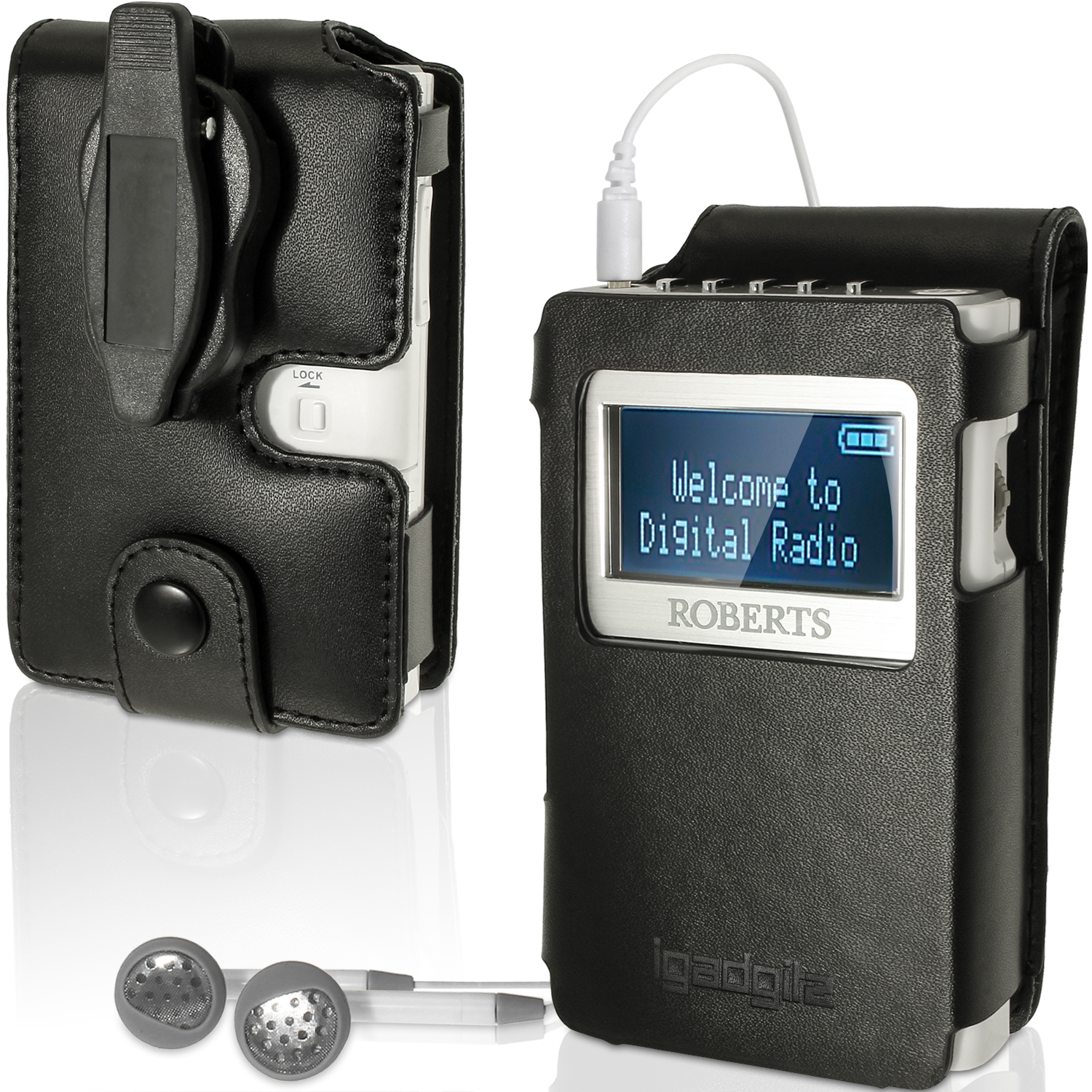 iGadgitz Black PU Leather Case Cover for Roberts Sports Dab 5 Radio With Removable Belt Clip + Screen Protector