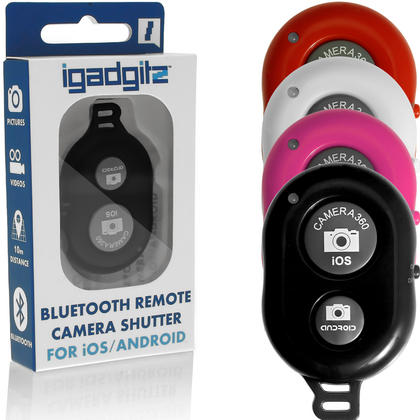 iGadgitz Selfie Bluetooth Remote Shutter Camera Activation for Apple iOS and Android Phone and Tablets (various colours)