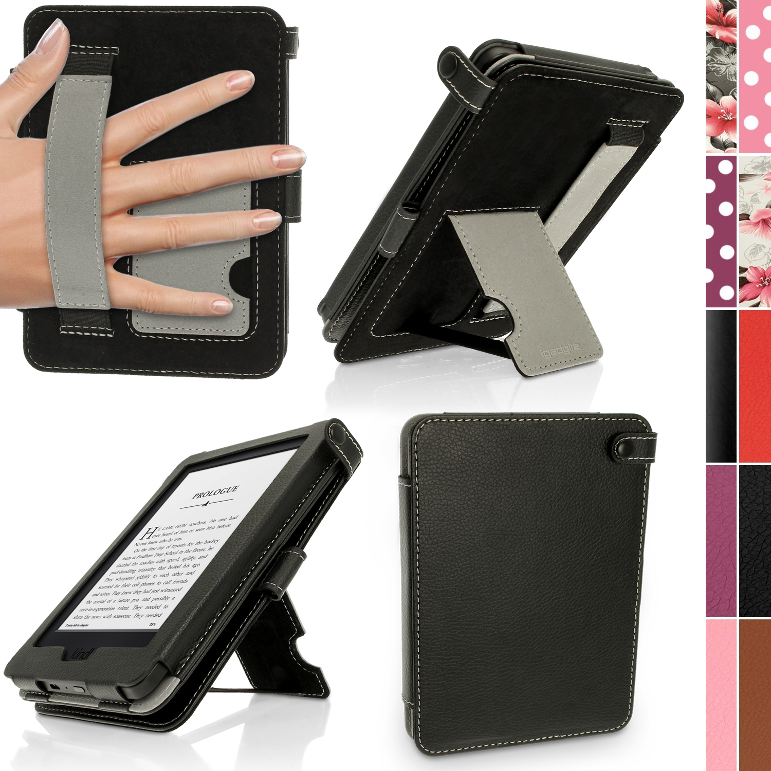 iGadgitz Premium PU Leather Case for Amazon Kindle 2014 (Touchscreen) 7th Gen with Stand + Auto Sleep/Wake + Hand Strap