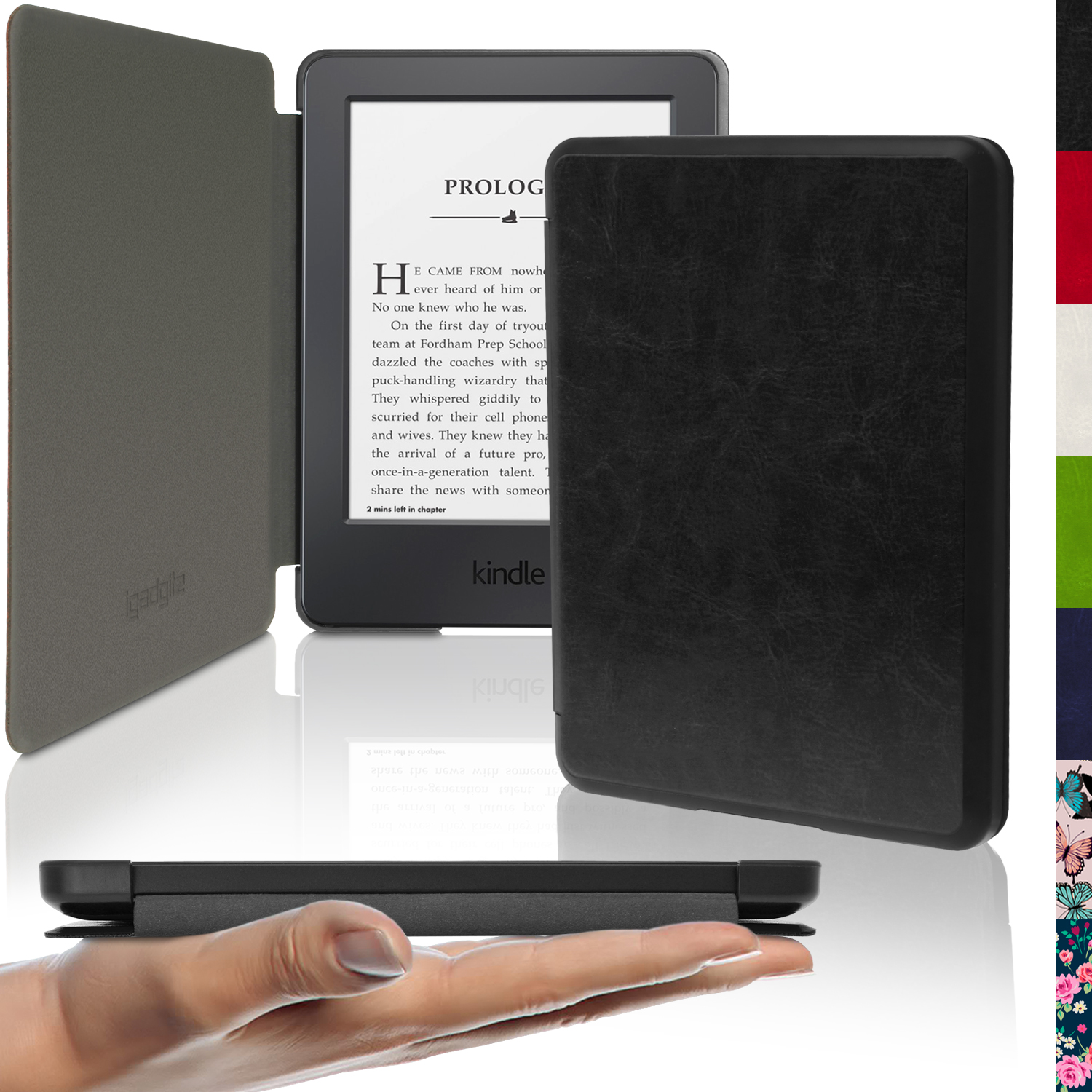 iGadgitz Slim PU Leather Shell Case Cover for Amazon Kindle 2014 Touchscreen 7th Gen with Sleep/Wake & Magnetic Closure