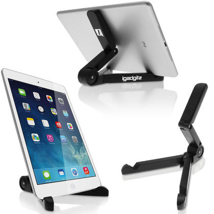 iGadgitz Multi-Angle Black Adjustable Portable Tablet Folding Holder Plastic Stand (Suitable for most Tablets, E-Readers)