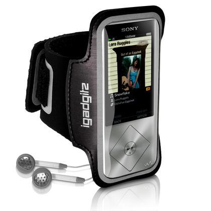 iGadgitz Reflective Anti-Slip Black Sports Jogging Gym Armband for Sony Walkman NWZ-A15 NWZ-A17 NW-A25 NW-A27 Thumbnail 2