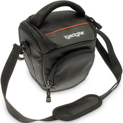 iGadgitz Small Black Water-Resistant SLR DSLR Bridge Camera Holster Travel Bag Case with Shoulder Strap Thumbnail 1