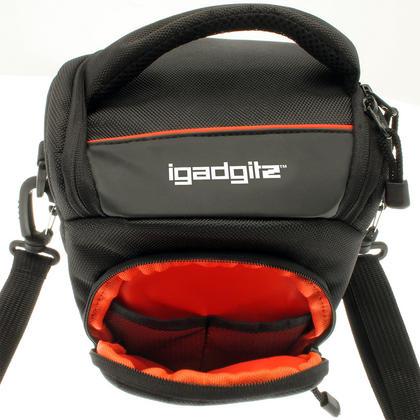 iGadgitz Small Black Water-Resistant SLR DSLR Bridge Camera Holster Travel Bag Case with Shoulder Strap Thumbnail 3