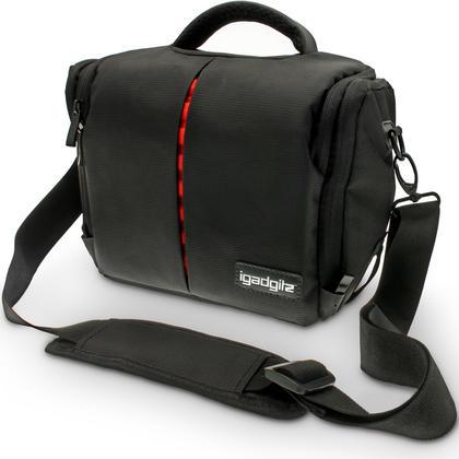 iGadgitz Medium Black Water Resistant SLR DSLR Bridge Messenger Camera Bag with Rain Cover + Shoulder & Waist Strap Thumbnail 1