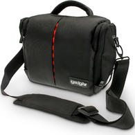 iGadgitz Medium Black Water Resistant SLR DSLR Bridge Messenger Camera Bag with Rain Cover + Shoulder & Waist Strap