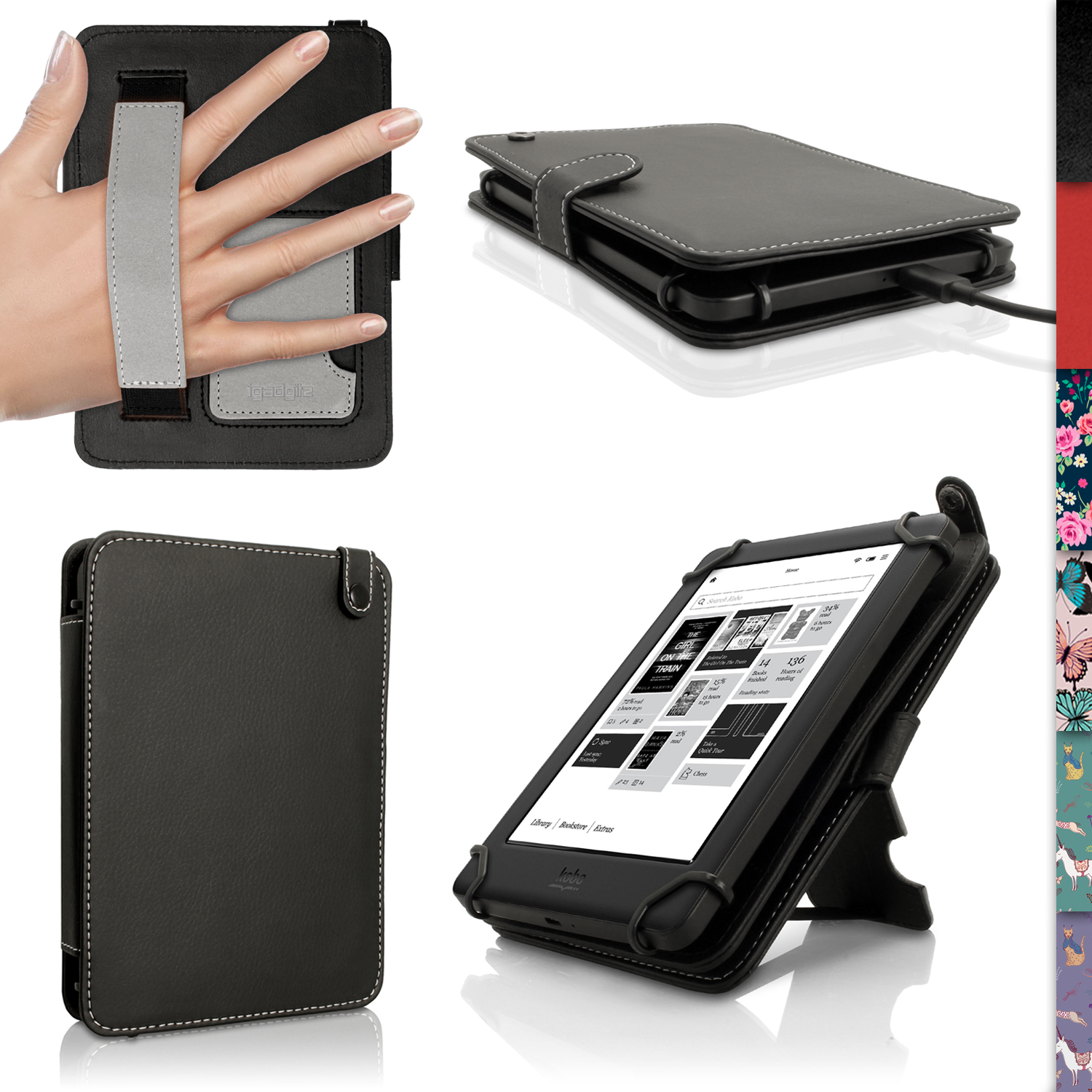 iGadgitz PU Leather Folio Case Cover for Kobo Glo HD 2015, Kobo Touch 2 & Kobo Aura with Hand Strap & Viewing Stand