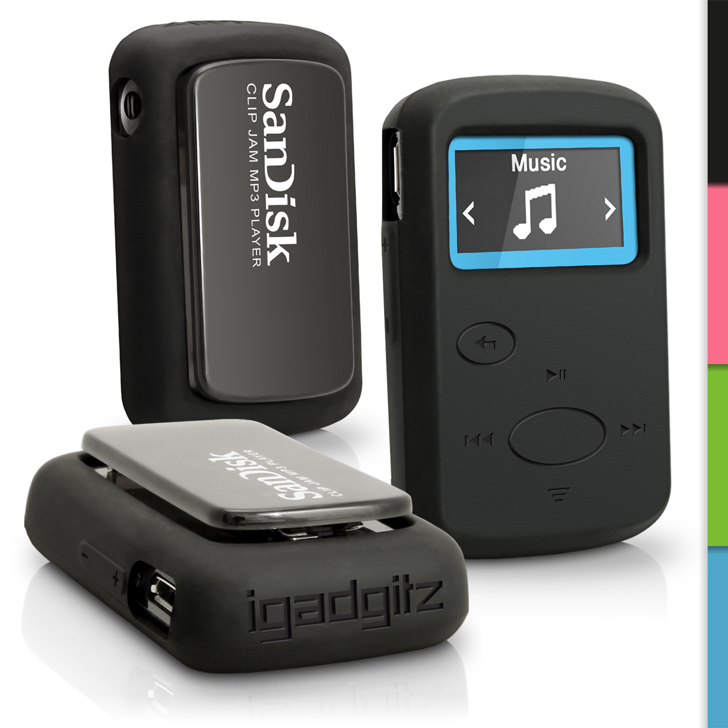 iGadgitz Black Silicone Skin Case for Sandisk Sansa Clip Jam MP3 Player 8GB SDMX26-008G (2015) Gel Rubber Cover