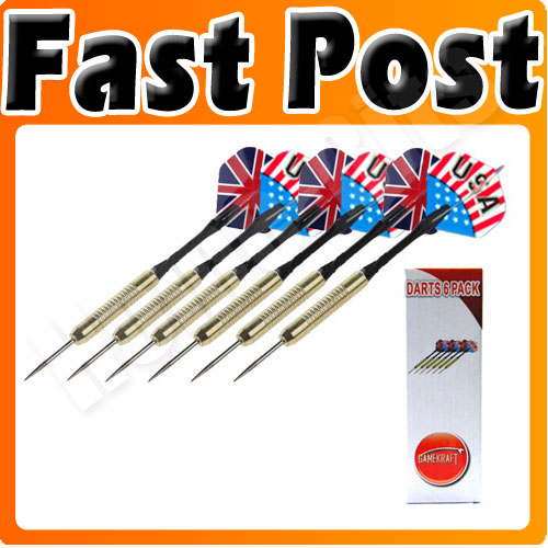 6 Pack Darts Bulls Eye Set UK & US Flag Flights New Enlarged Preview