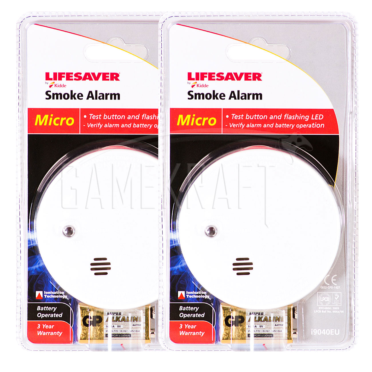 2 x KIDDE LIFESAVER Smoke Detectors Fire Alarm Ionisation Batteries Included Enlarged Preview