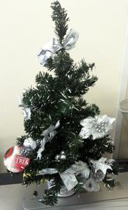 TRADITIONALLY DECORATED CHRISTMAS TREE. SILVER POINSETTIA, LEAVES & BOWS. 50cm