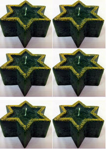 CANDLES 6 LARGE GREEN CHRISTMAS STAR WITH GOLD GLITTER DECORATION LIGHTING LIGHT