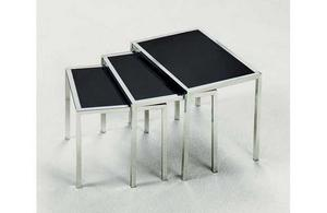 NEW-BLACK-GLASS-AND-CHROMED-METAL-NEST-OF-3-TABLES