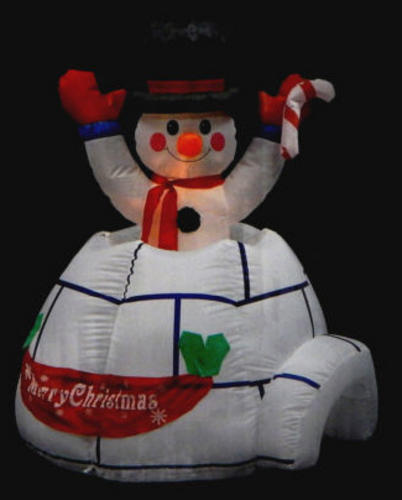 Snowman in igloo inflatable christmas decoration light up for Animated snowman decoration