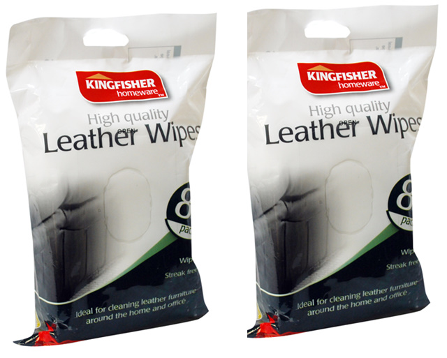 120 HIGH QUALITY KINGFISHER LEATHER WIPES. 2 PACKS OF 60. CLEANS STREAK FREE Enlarged Preview