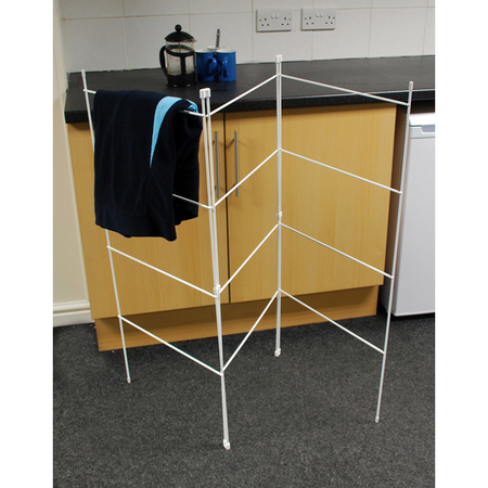 View Item 3 FOLD LAUNDRY CLOTES HANGER DRIER AIRER. FOLDS FLAT. INDOOR OR OUTDOOR USE
