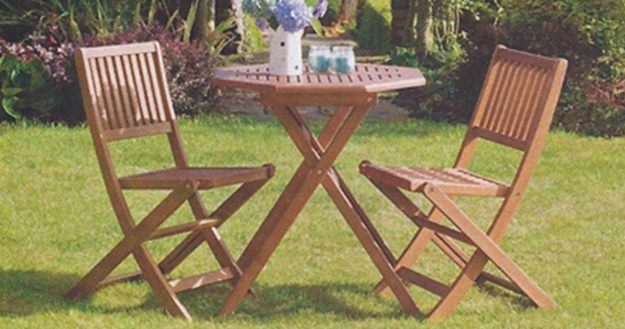 FSC EUCALYPTUS WOOD BISTRO TABLE AND 2 FOLDING CHAIRS