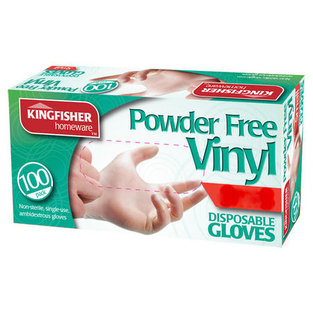 View Item DISPOSABLE VINYL GLOVES. POWDER FREE. PACK 100. FOOD, CLEANING. SMALL OR MEDIUM