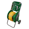 View Item 1 X 25M COIL GARDEN HOSE PIPE TROLLEY SET ADAPTERS /DIAL SPRAY GUN. EASY COILING