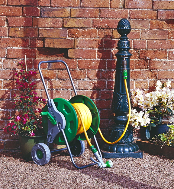 Portable Hose Pipe Reel Holder Trolley Cart Garden Water