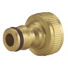 "View Item 1 NEW 3/4"" BRASS THREADED TAP GARDEN HOSE CONNECTOR ADAPTOR FAUCET FITTING"