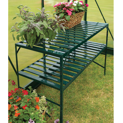 Gardman 2 tier staging aluminium greenhouse shelving for Walk in greenhouse big lots
