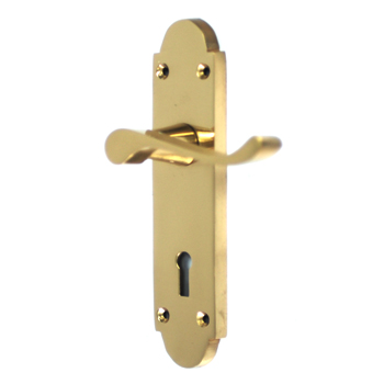 NEW YALE VICTORIAN POLISHED BRASS DOOR HANDLES WITH FITTINGS Enlarged Preview