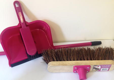 View Item 1 BROOM, DUSTPAN AND BRUSH SET FOR HOME AND GARDEN, HOUSE AND KITCHEN PINK