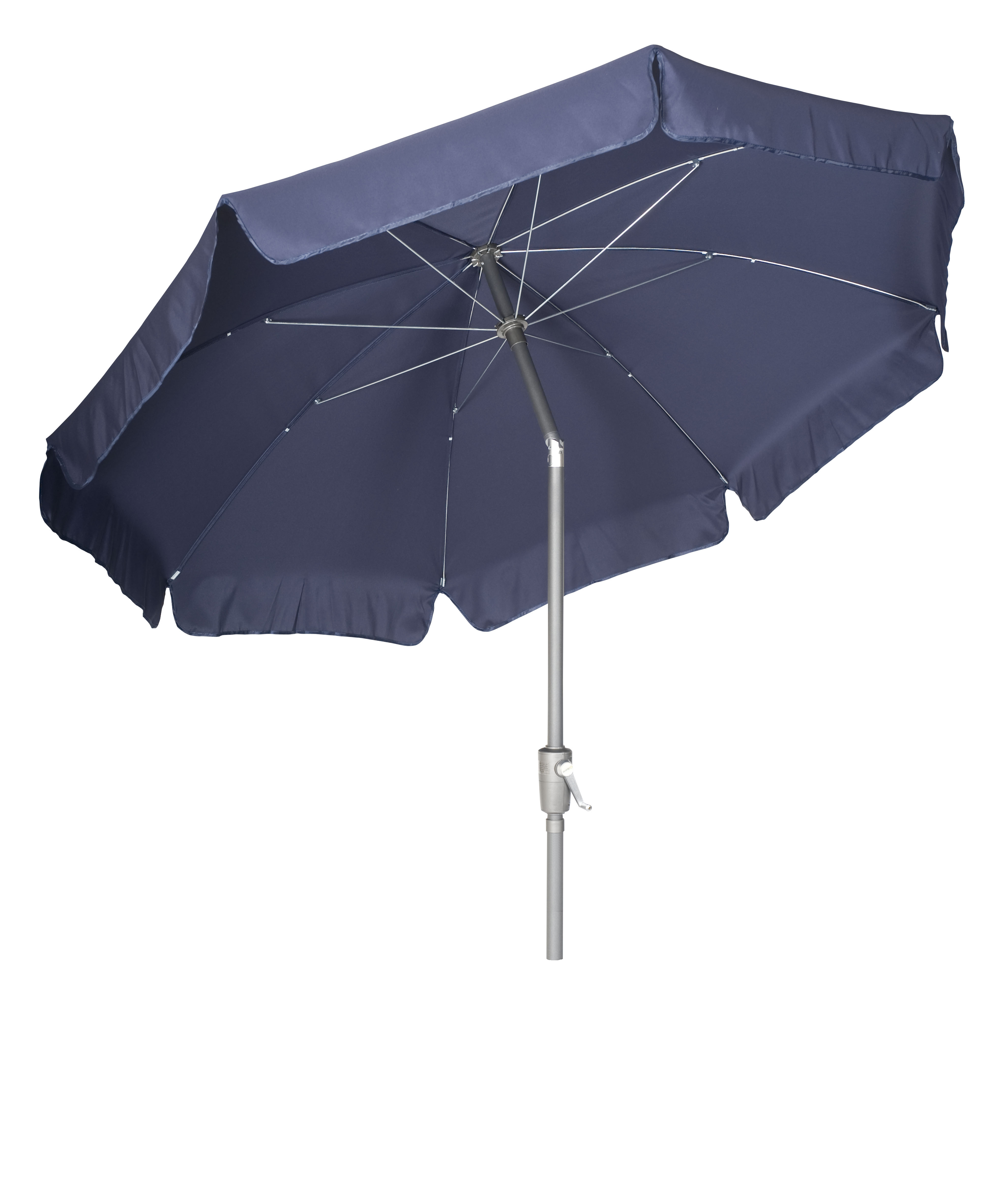 garden parasol navy umbrella aluminium tilting pole. Black Bedroom Furniture Sets. Home Design Ideas