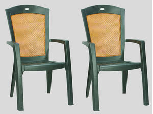 SET 2 GARDEN ARM CHAIRS GREEN RESIN WITH WICKER RATTAN BACKREST PATIO FURNIT
