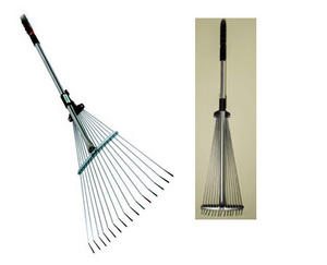 GARDEN LAWN RAKE TELESCOPIC ADJUSTABLE EXTENDING COMPACT. LEAF MOSS SCARIFYING Preview