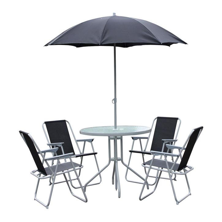 GARDEN TABLE CHAIR SET GLASS TOP 4 FOLDING ARM CHAIRS BLACK PAR