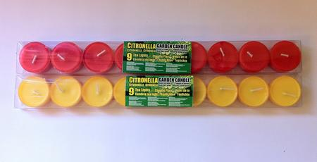 View Item 2 PACK CITRONELLA RED YELLOW GARDEN TEA LIGHTS INSECT REPELLANT 18 CANDLES TOTAL