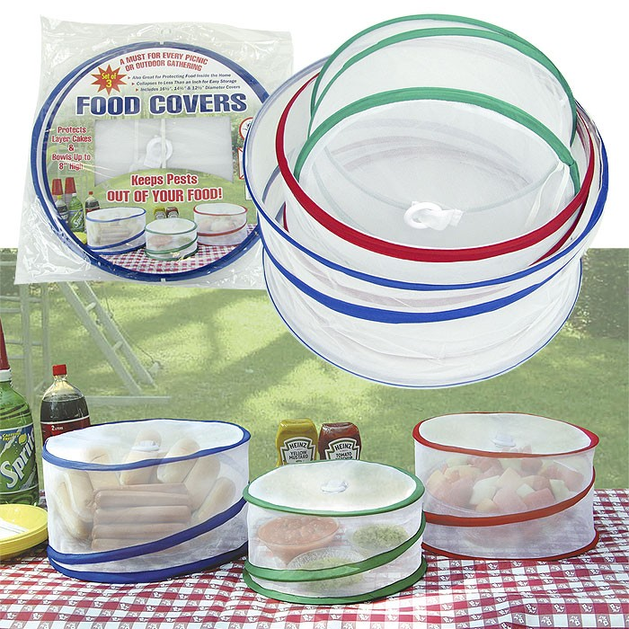 SET OF 3 POP UP FOOD COVERS GREAT FOR PICNIC / BBQ OR OTHER OUTDOOR GATHERINGS Enlarged Preview