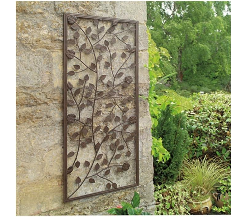 GARDEN CLIMBING ROSE WALL ART PANEL ORNAMENTAL BRONZE PAINTED STEEL DECORAT