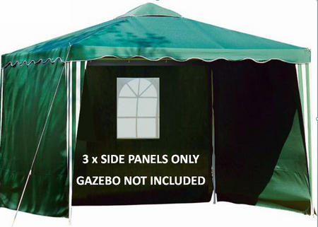 View Item GAZEBO 3m REPLACEMENT SIDE PANELS WALLS GREEN + WINDOW. 180g POLYESTER SET OF 3