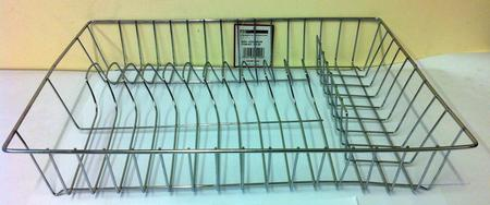 View Item CHROME DISH RACK. 43cm x 33cm x 8cm. GLASS TRAY. 11 DISH SLOTS. 5 CUP APPROX NEW