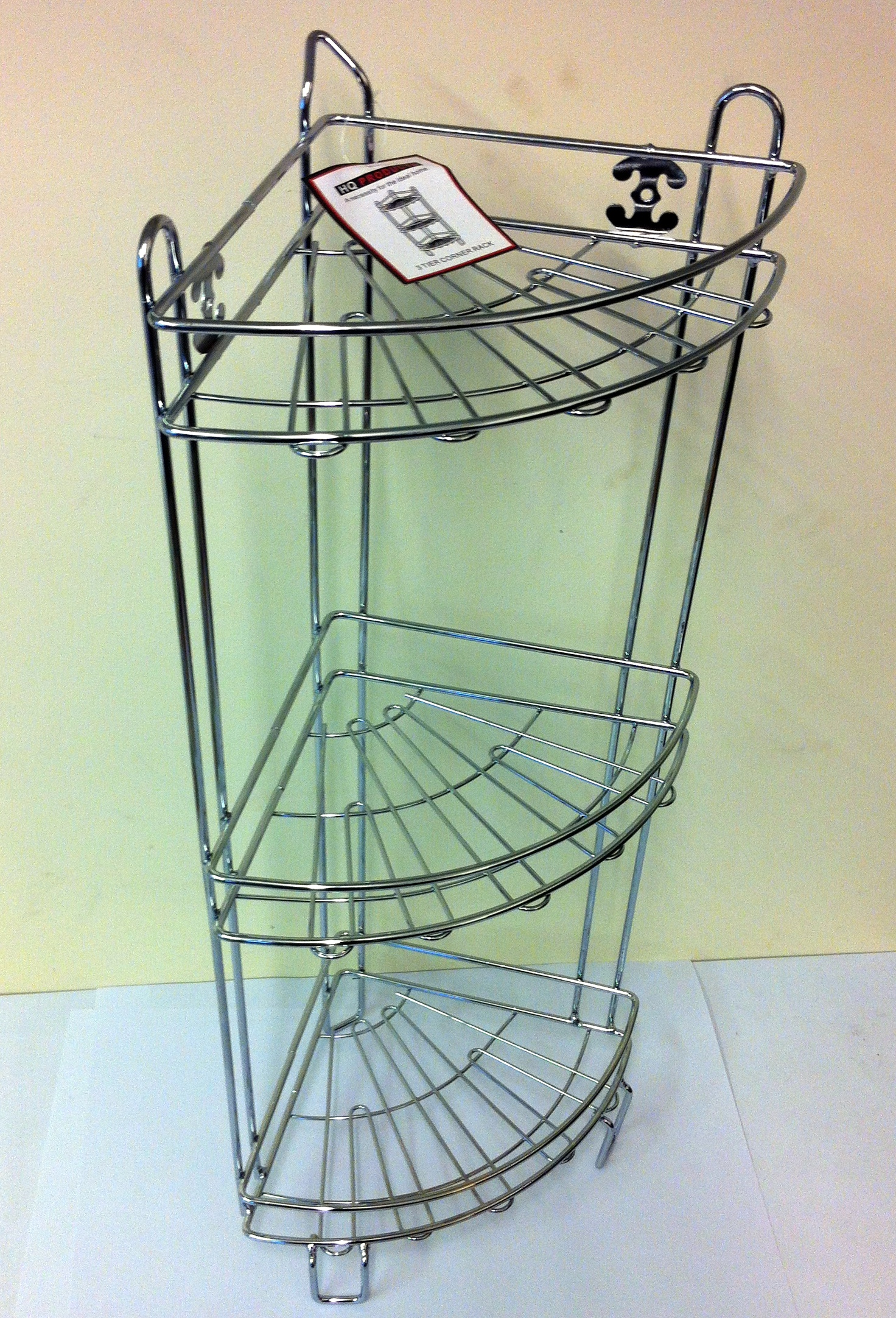 SHOWER CADDY 3 TIER CORNER RACK FREE STANDING CHROME