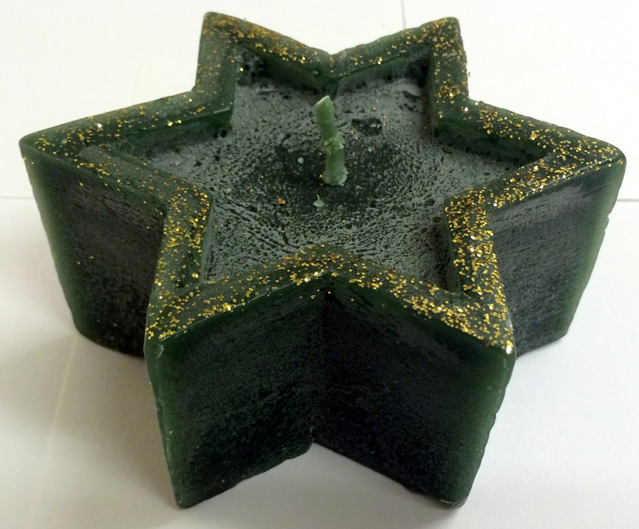 gold glitter 6 oriental green christmas candles. star shapes. 12cm x 5.5cm. new Enlarged Preview
