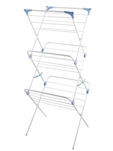View Item 3 TIER CLOTHES AIRER. WHITE WITH AQUA JOINTS. SPACE EFFICIENT. 11m DRY AREA. NEW