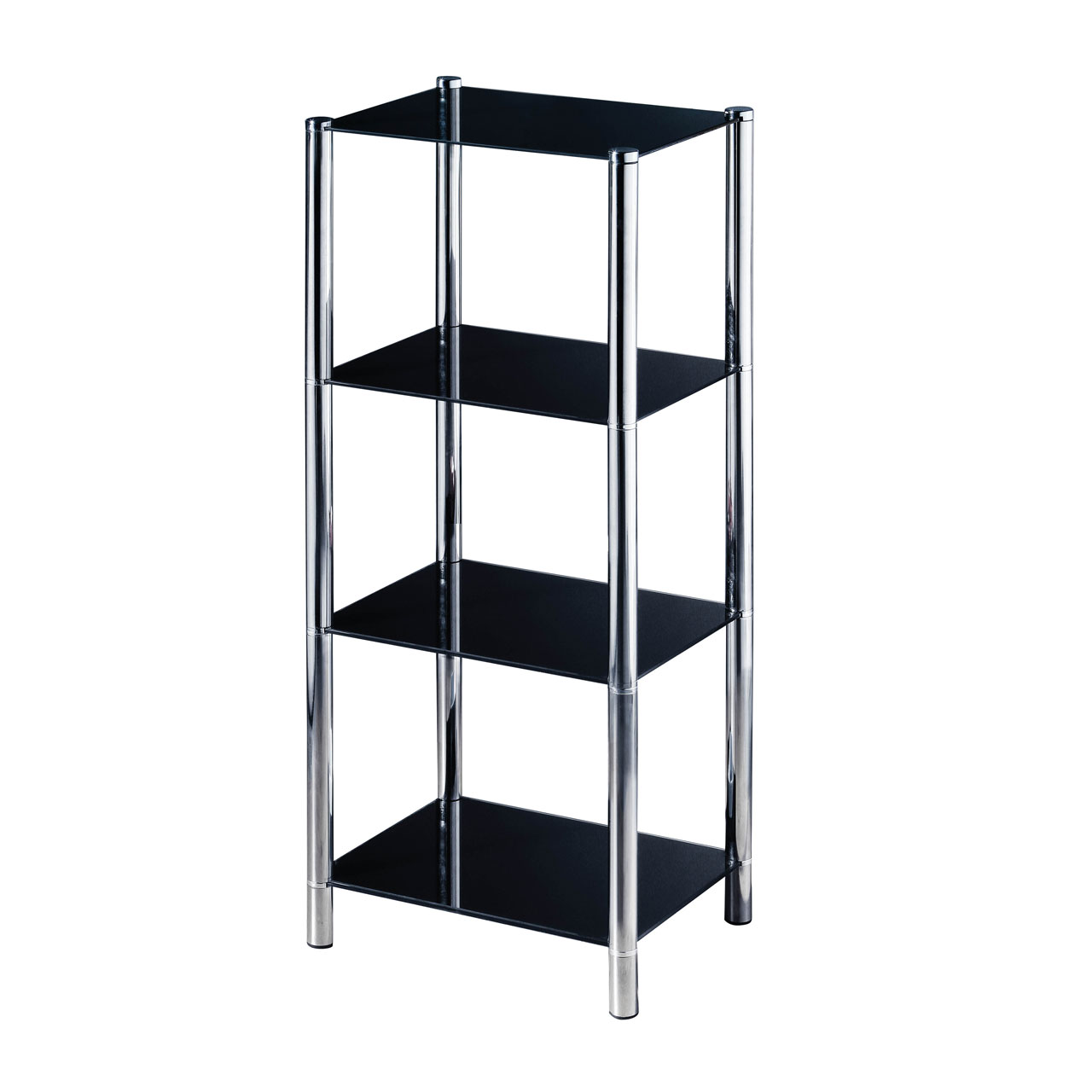 4 tier shelving unit chrome glass lounge storage tower. Black Bedroom Furniture Sets. Home Design Ideas