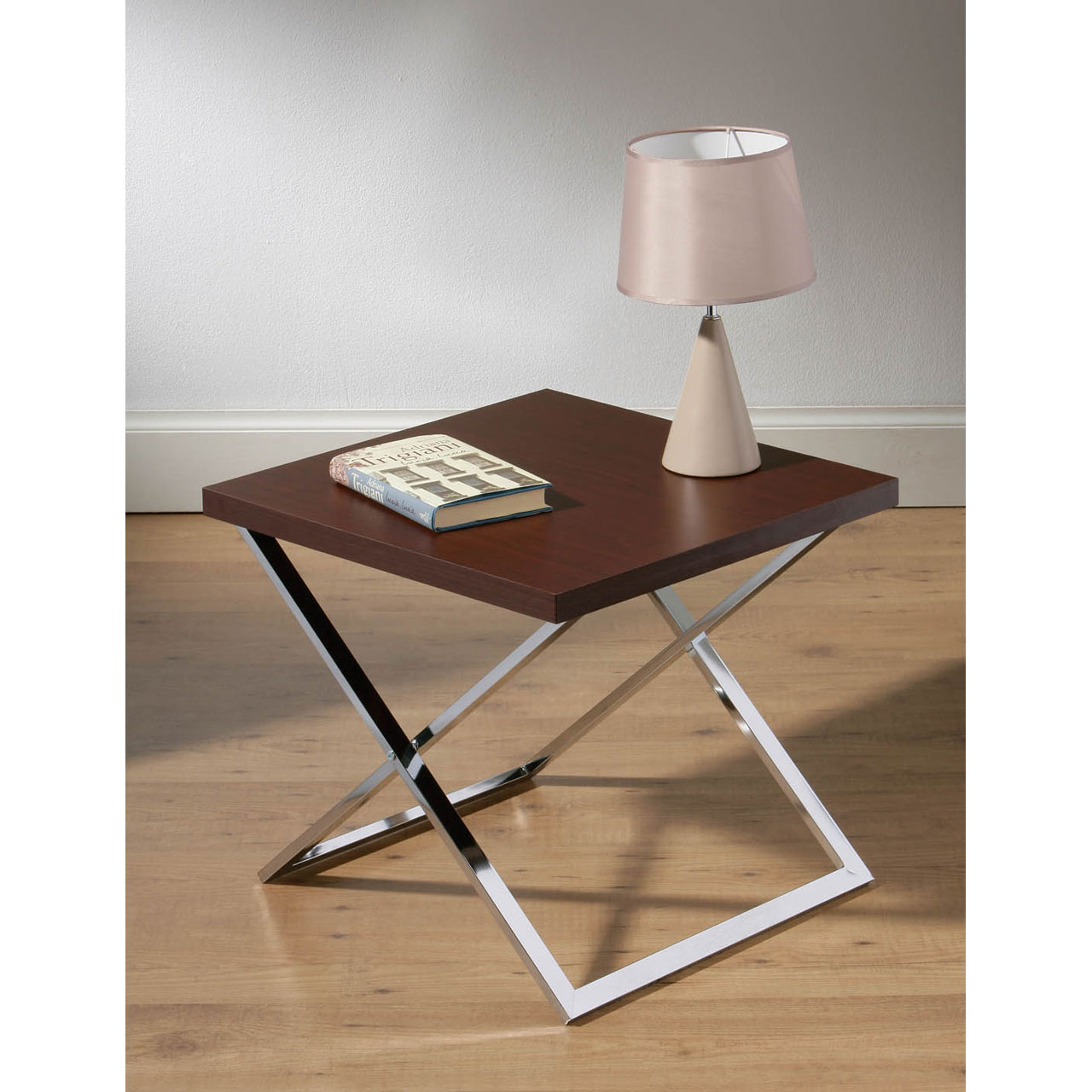 Coffee Side Lamp Table Chrome Wood Stylish Cross Leg Design Lounge Furniture Ebay