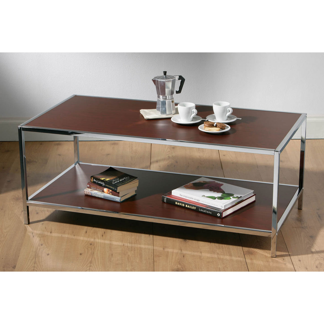 Coffee Table Wood Chrome Very Stylish Modern Dark Brown 2 Tier New Ebay
