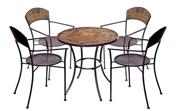 SORRENTO BISTRO TABLE CHAIR SET. 4 CHAIRS. PATIO, GARDEN