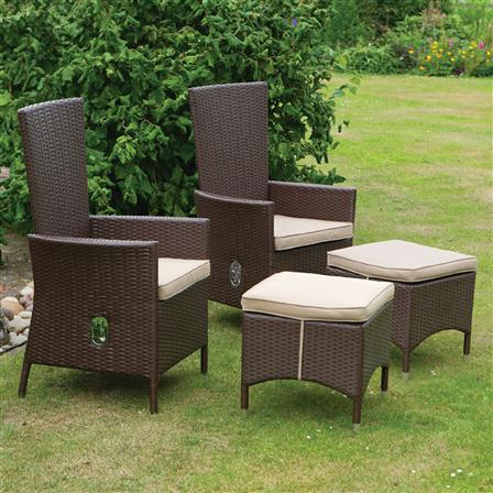 Set 2 garden reclining armchairs foot stools cushions rattan patio furniture ebay - Outdoor furniture foot pads ...
