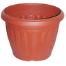 View Item SMALL ORNAMENTAL PLANT POT. 35cm ROUND. 27cm DEPTH. NEW. TERRACOTA. GARDEN.