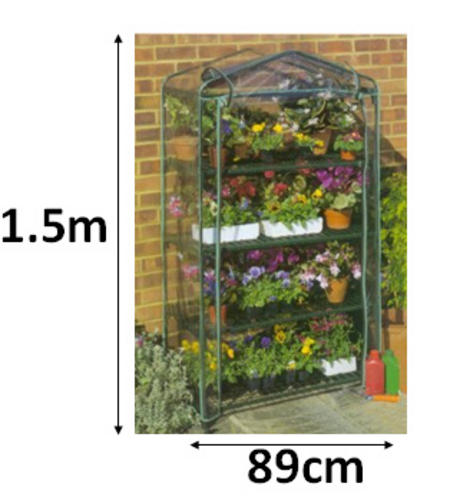View Item 4 TIER GROWHOUSE GREENHOUSE GARDEN SHELVING WITH ZIP COVER 1.5M HIGH COLD FRAME