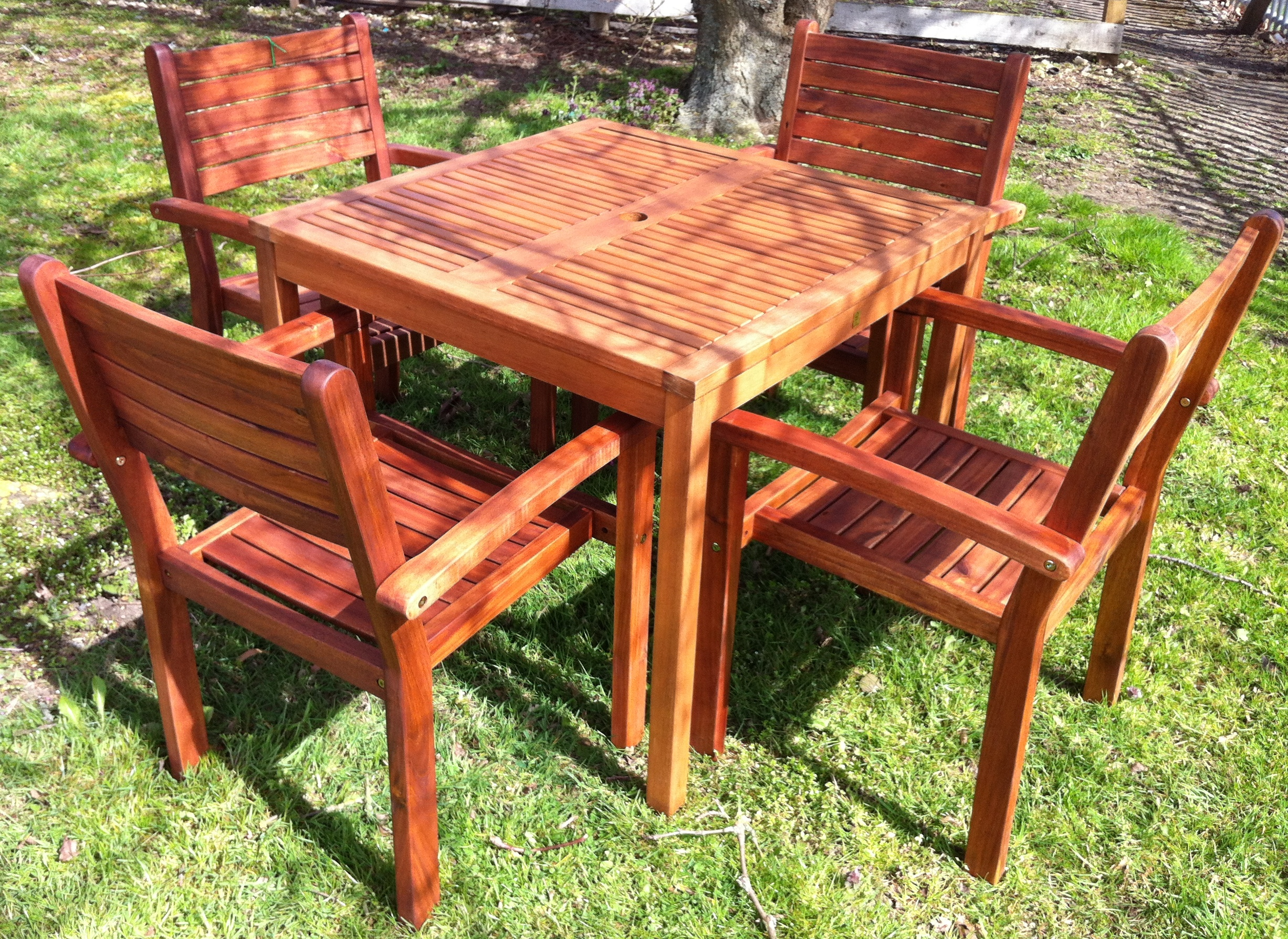 Wooden Garden Furniture Set 4 Chairs And Square Table BBQ Dining Summer Se