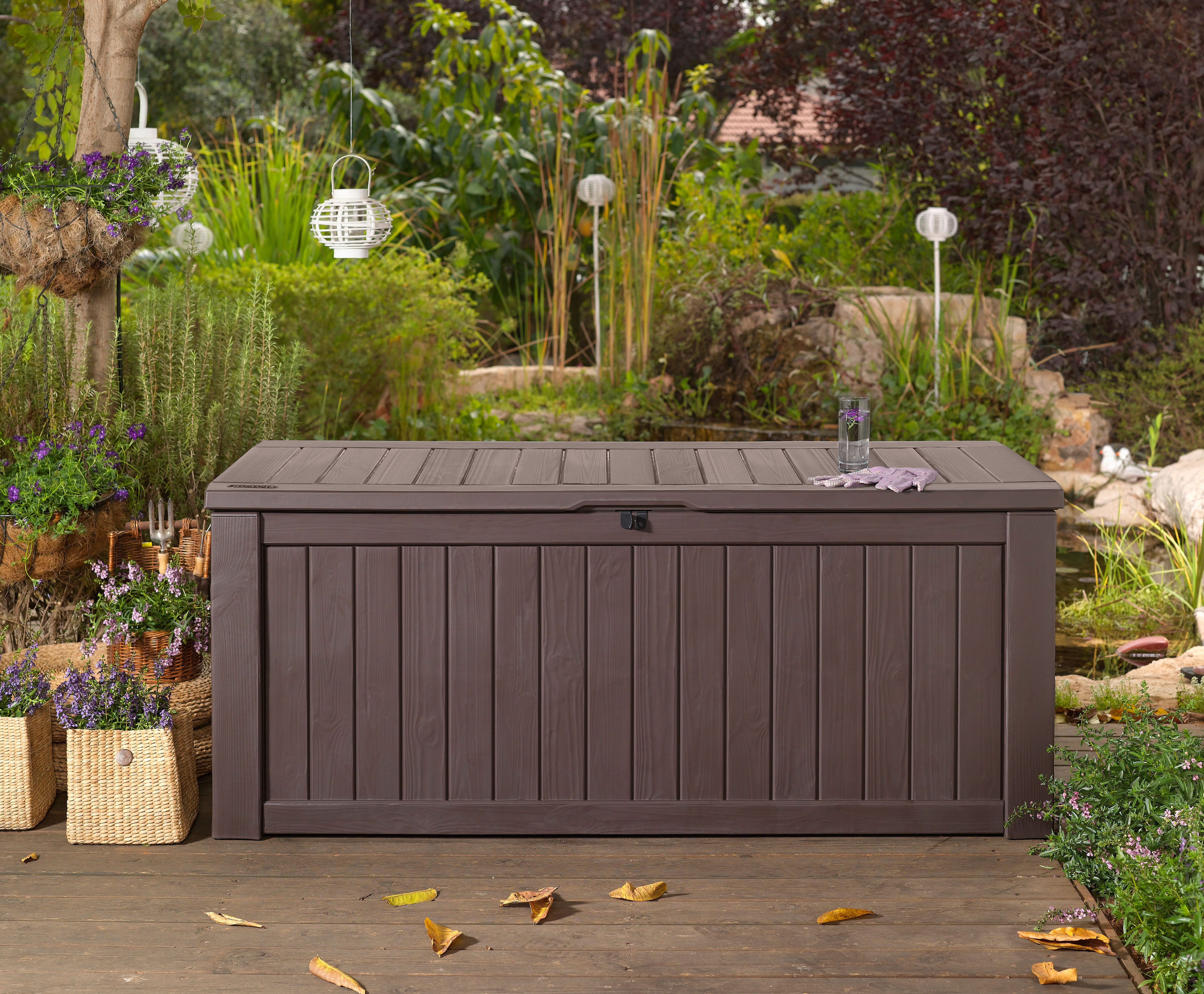 570L KETER STORAGE BOX BENCH SEATING WATERPROOF GARDEN RESIN FURNITURE. LOCKABLE | eBay